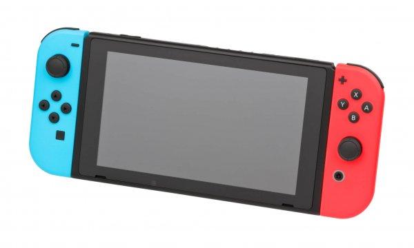 Nintendo-Switch-wJoyCons-BlRd-Standing-FL