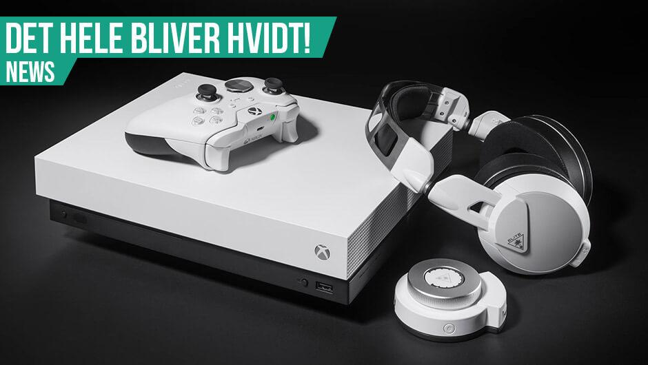 Hvid Xbox One X, Elite controller og headset